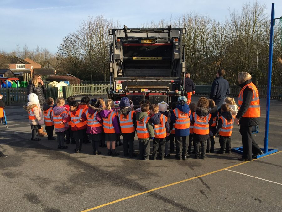 Chunky's dustcart visits Manor Fields School